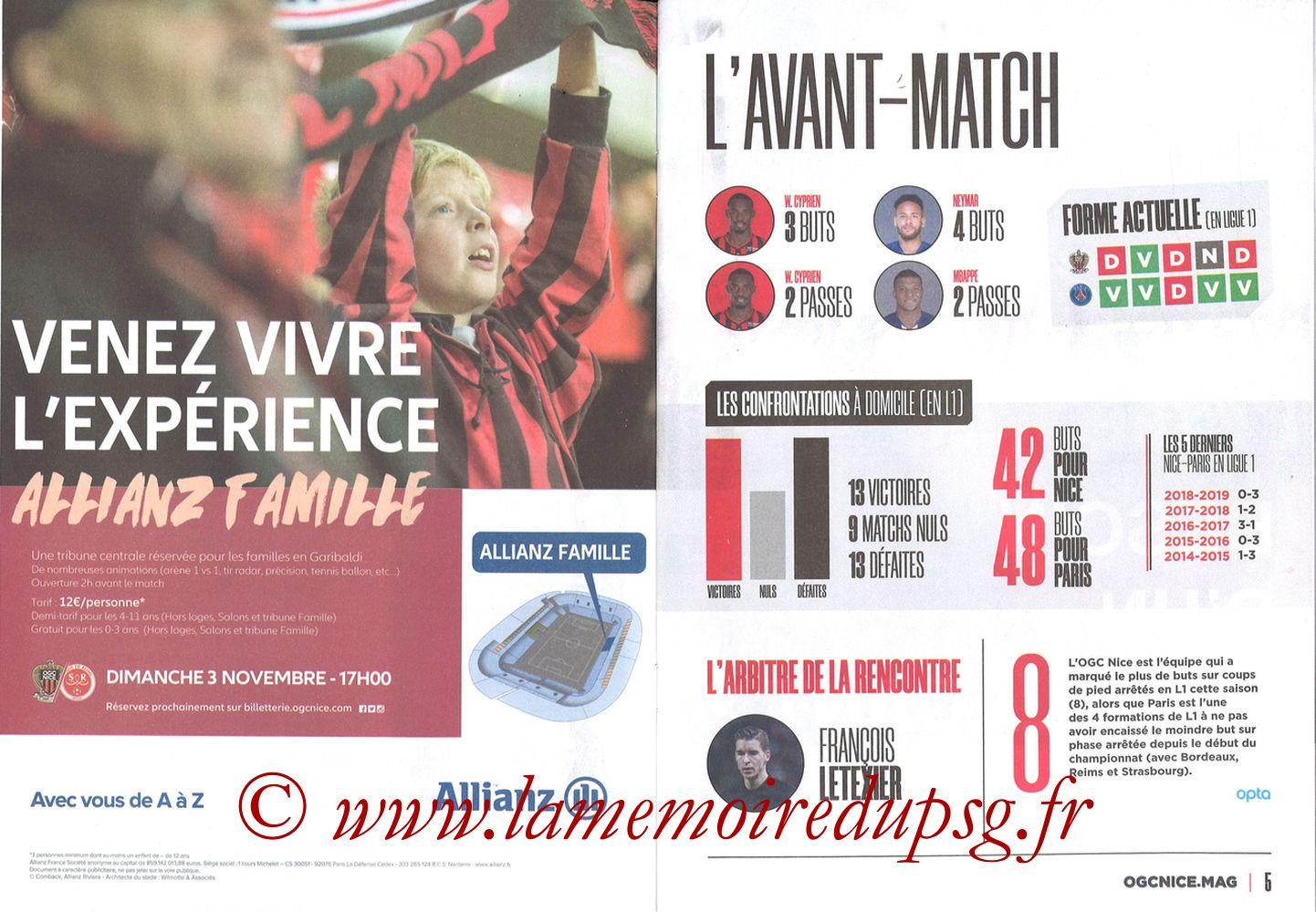 2019-10-18  Nice-PSG (10ème L1, OGCNice Mag N° 333) - Pages 04 et 05