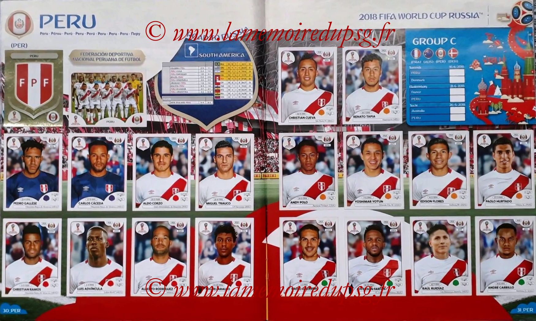 2018 - Panini FIFA World Cup Russia Stickers - Pages 30 et 31 - Perou