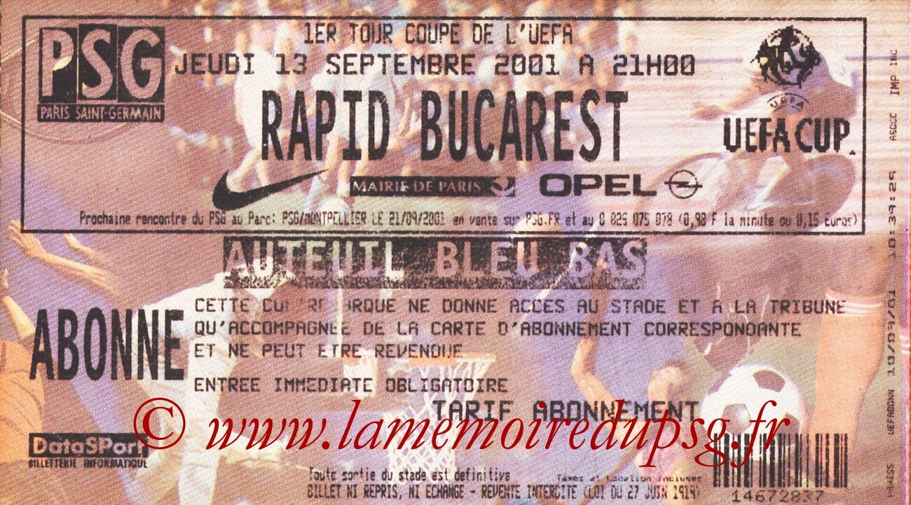2001-09-13  PSG-Rapid Bucarest (64ème Finale Aller C3)