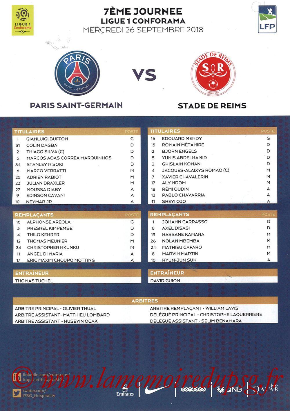2018-09-26  PSG-Reims (7ème L1, Feuille de match)