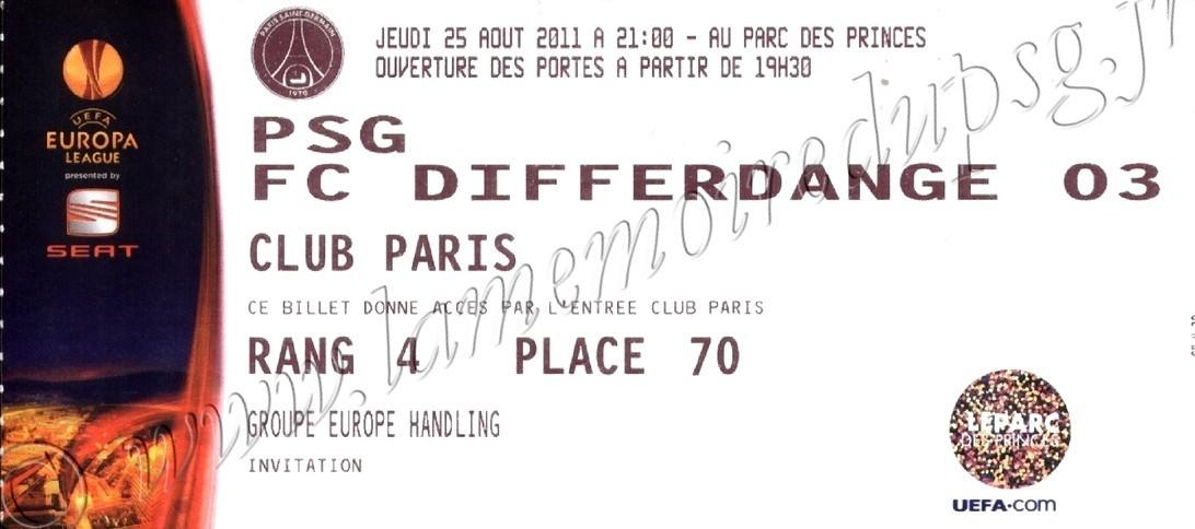 2011-08-25  PSG-Differdange (Tour Préliminaire retour C3)
