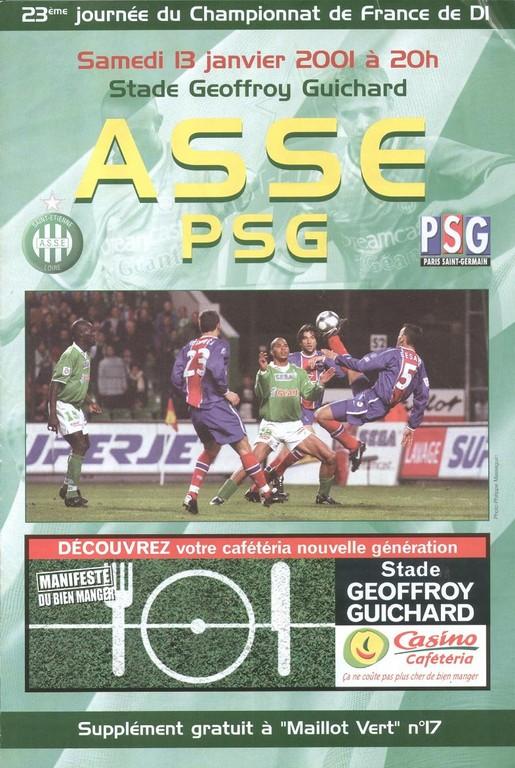 2001-01-13  Saint Etienne-PSG (23ème D1, Maillot Vert N°17)