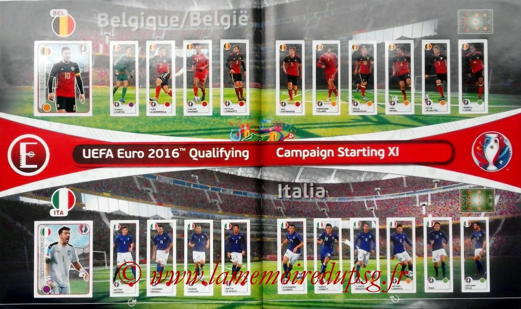 Panini Euro 2016 Stickers - Pages 68 et 69 - Belgique et Italie