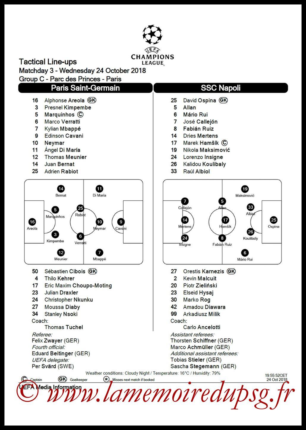 2018-10-24  PSG-Naples (3ème C1, Feuille de match)