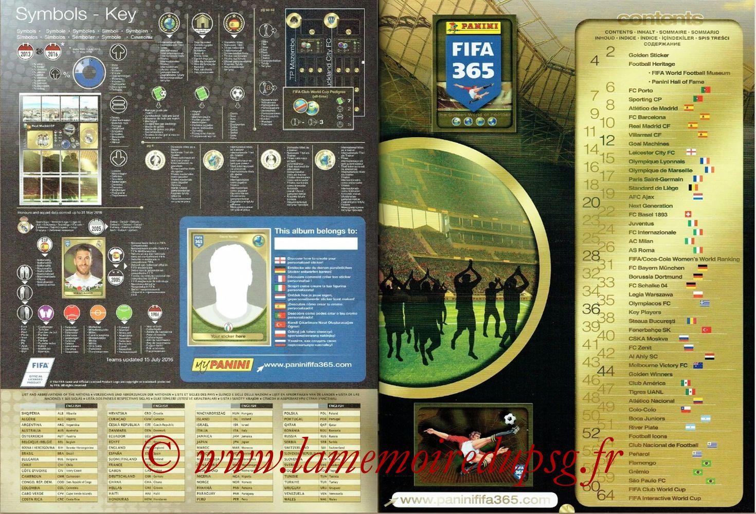 2016-17 - Panini FIFA 365 Stickers - Pages 00 et 01 - Symboles et Sommaire