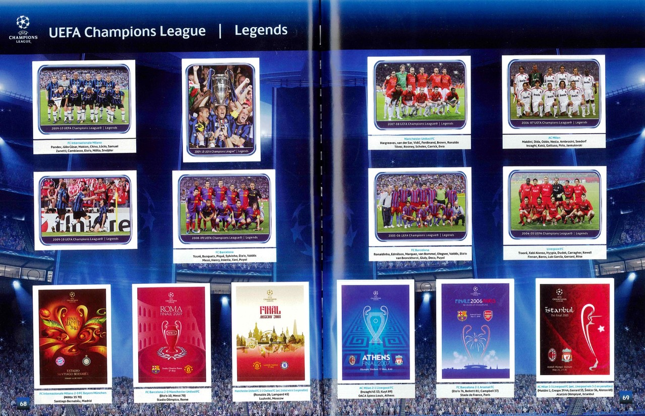 2010-11 - Panini Champions League - Pages 68 et 69 - Légendes