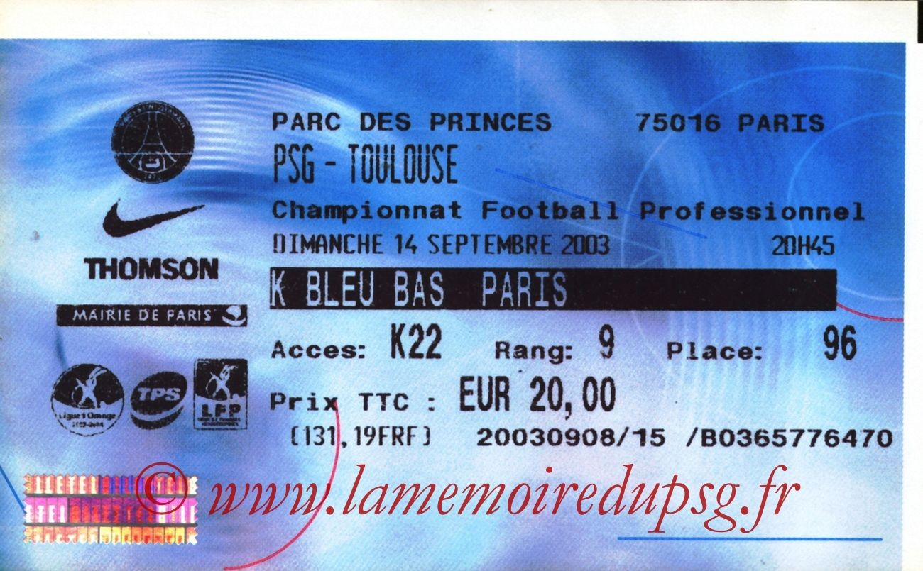 2003-09-14   PSG-Toulouse (6ème L1, billetel)