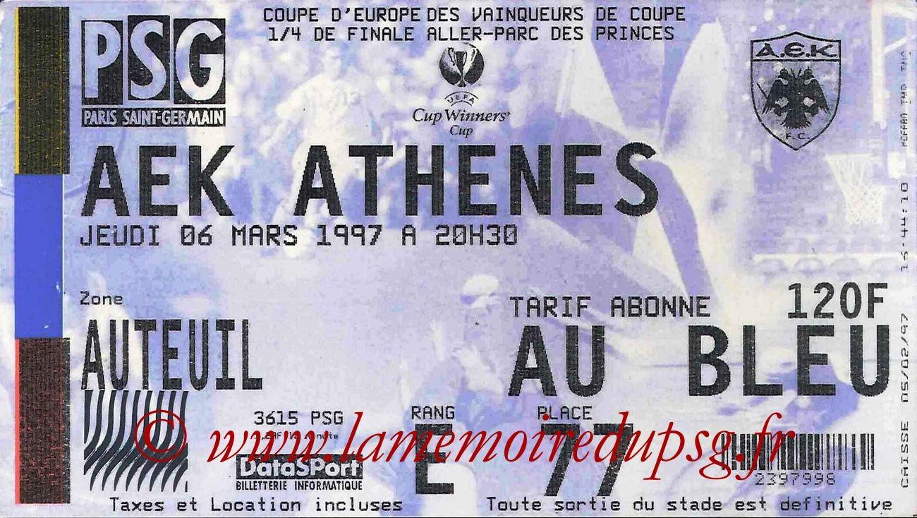 1997-03-06  PSG-AEK Athènes (Quart Finale Aller C2)