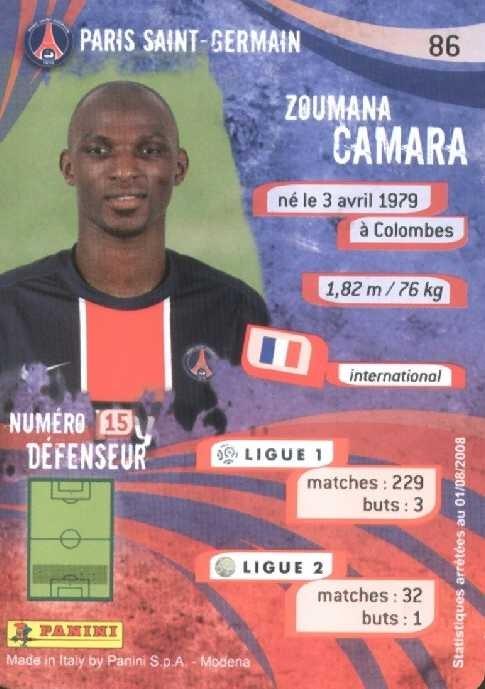 N° 086 - Zoumana CAMARA (Verso)