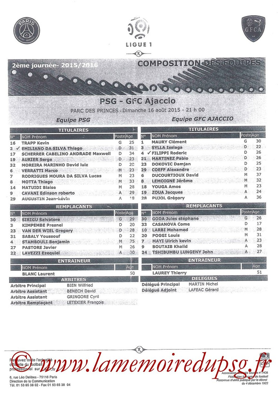 2018-08-16  PSG-Gazelec Ajaccio (2ème L1, Feuille de match)