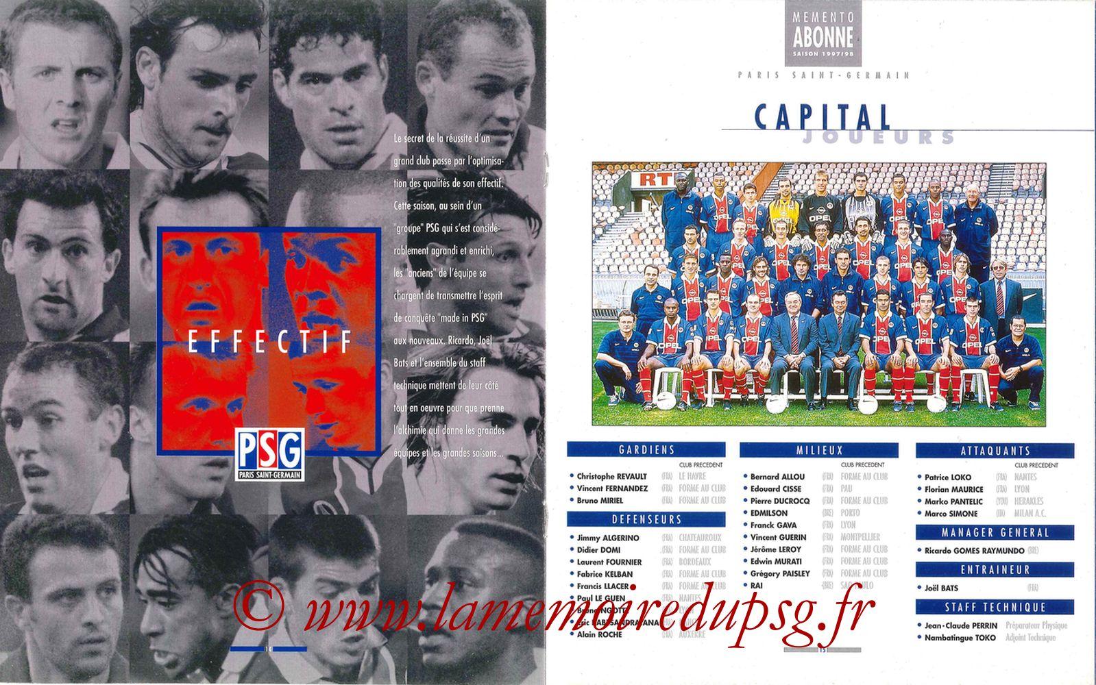 1997-98 - Guide de la Saison PSG - Pages 14 et 15