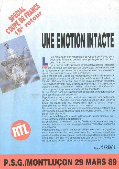1989-03-29  PSG-Montluçon (16ème Finale Retour CF, Programme officiel)