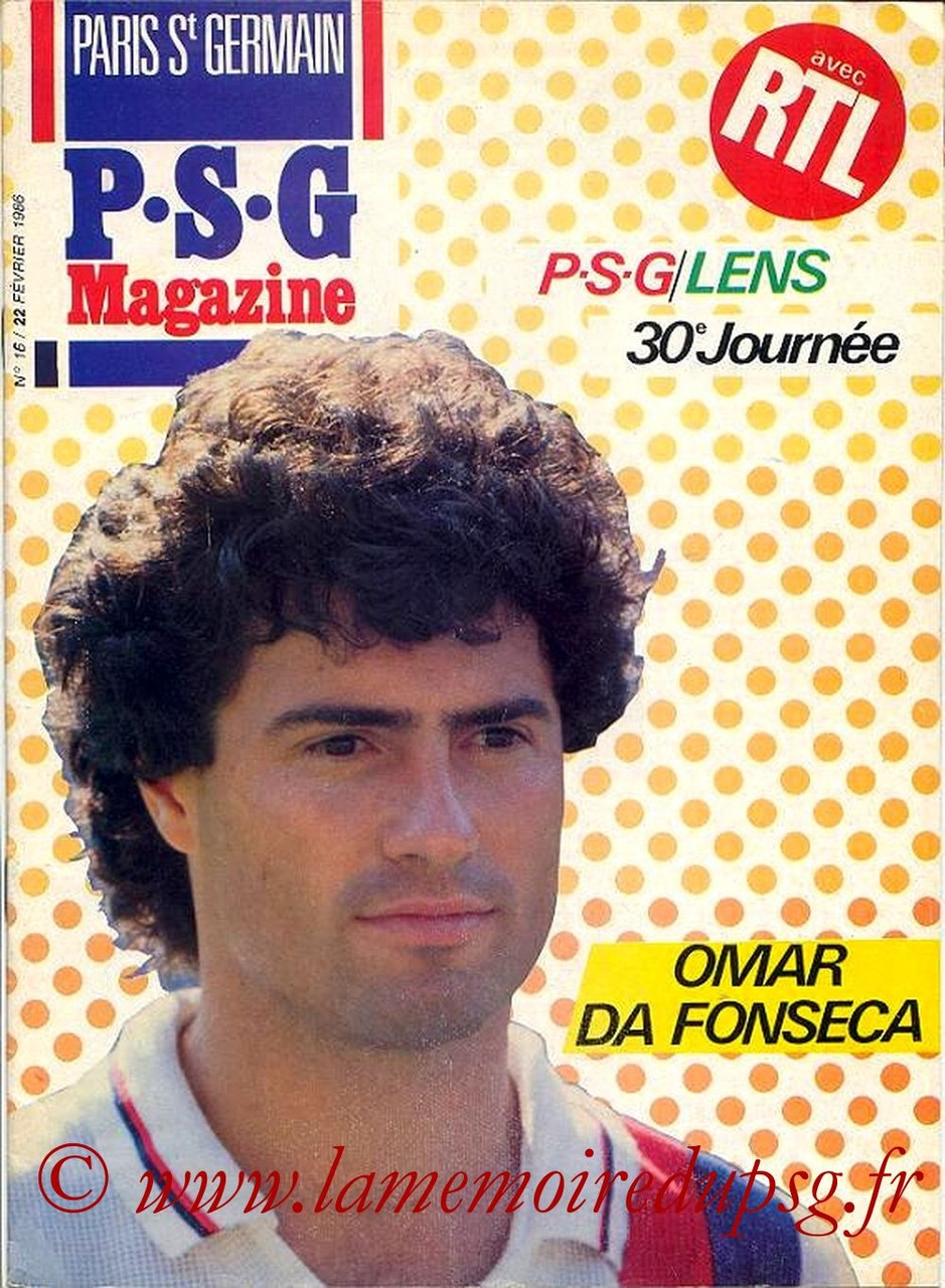 1986-02-22  PSG-Lens (30ème D1, Paris St Germain Magazine N°16)