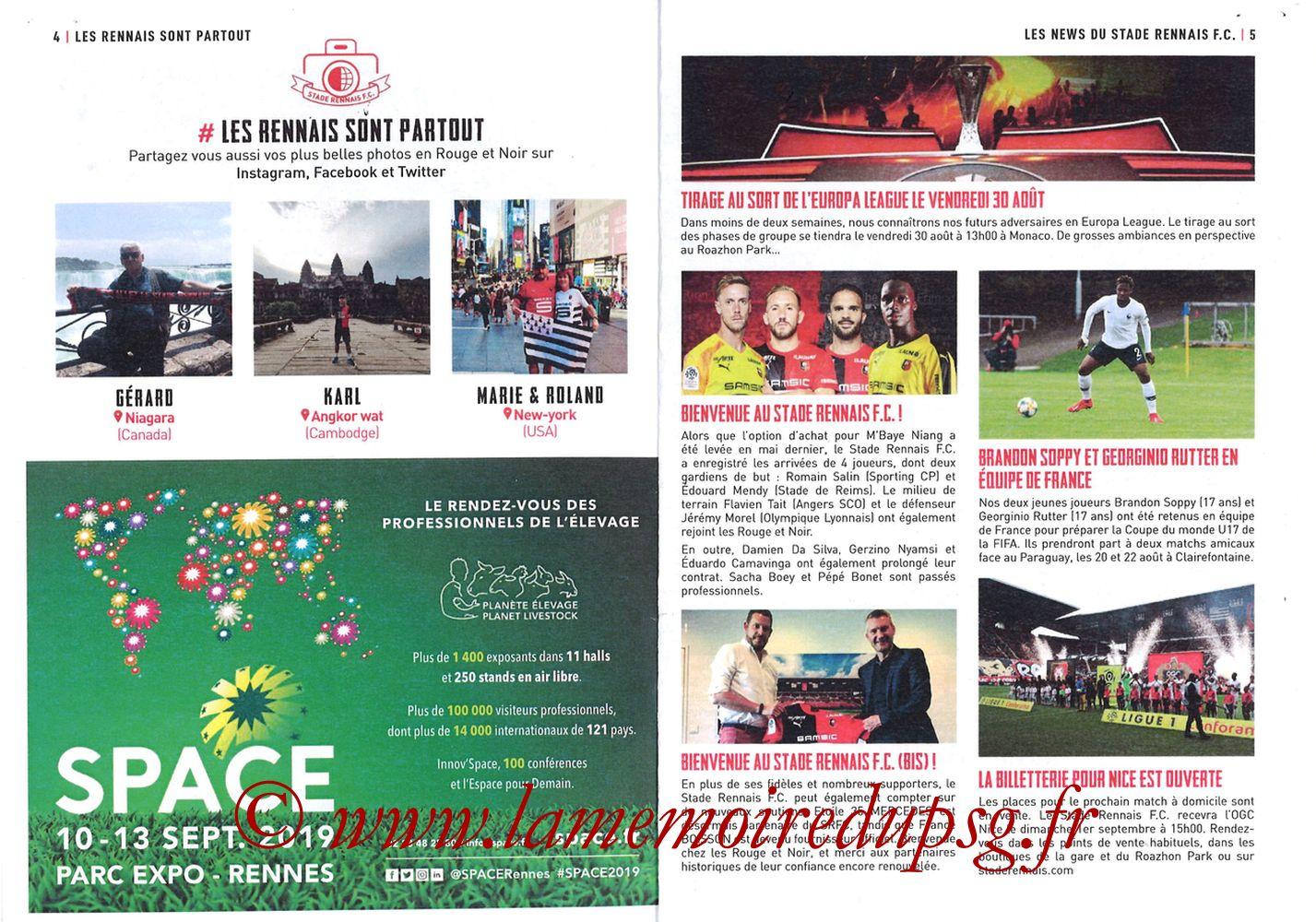 2019-08-18  Rennes-PSG (2ème L1, Programme officiel) - Pages 04 et 05