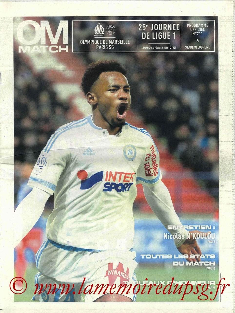 2016-02-07  Marseille-PSG (25ème L1, OM Match N°211)