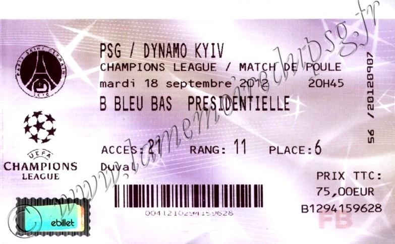 2012-09-18  PSG-Dynamo Kiev (1ère Journée Poule C1, Billetel)