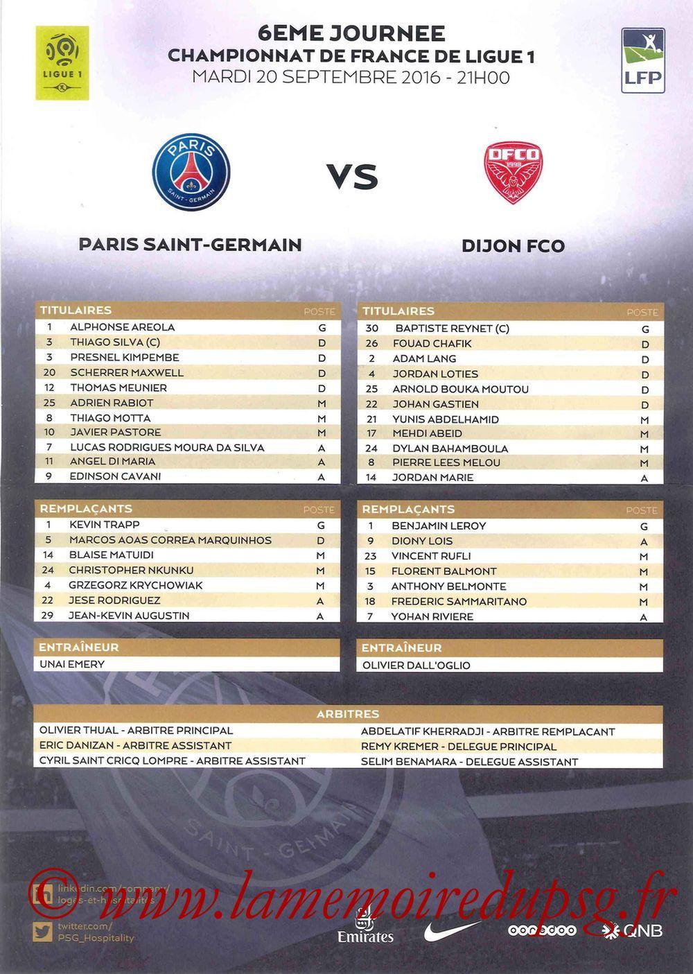 2016-09-20  PSG-Dijon (6ème L1, Feuille de match)