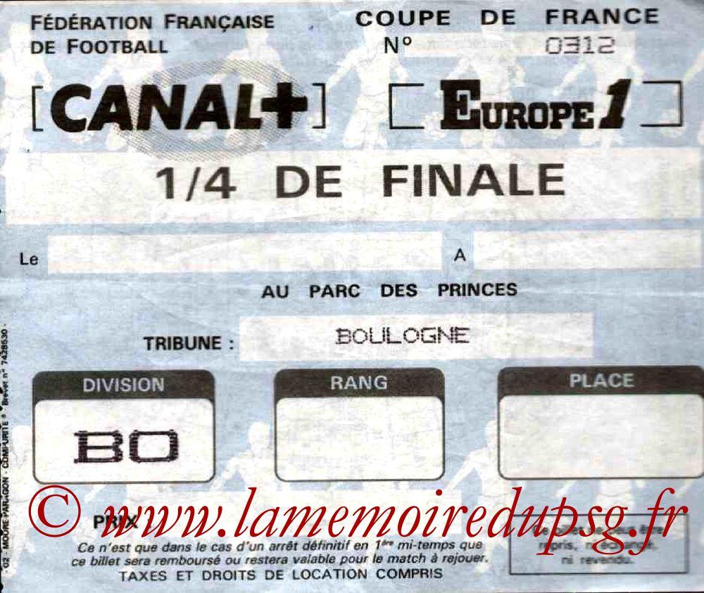 1986-04-01  PSG-Lens (Quart Finale Retour CF, Sans nom)