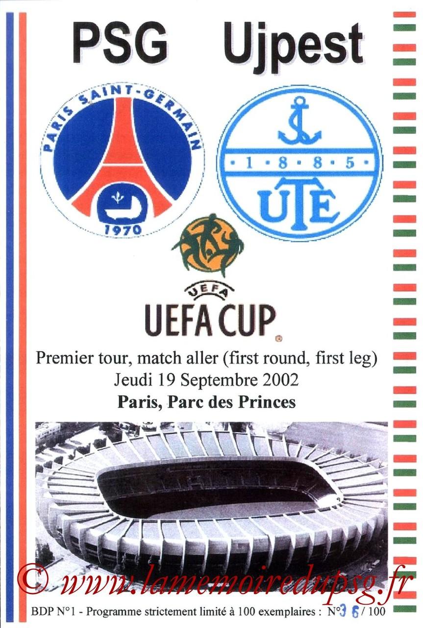 2002-09-19  PSG-Ujpest (64ème Finale Aller C3, Programme pirate JNT)