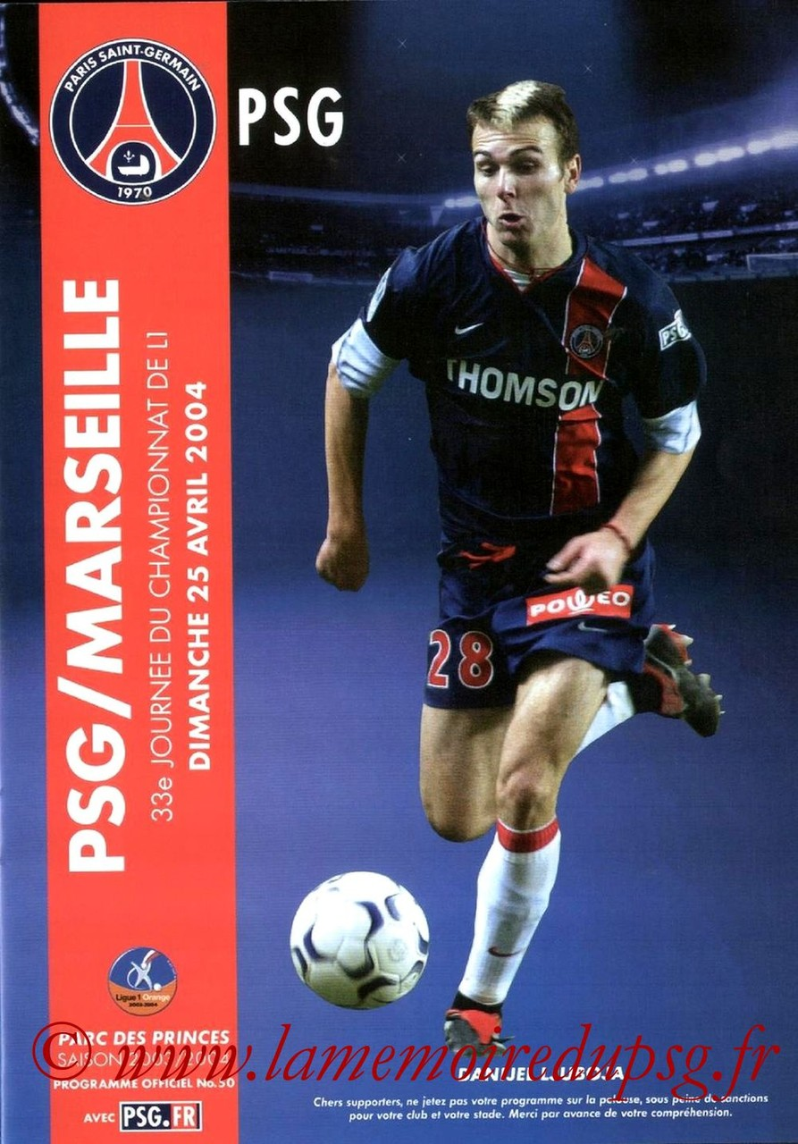 2004-04-25  PSG-Marseille (33ème L1, Programme officiel N°50)