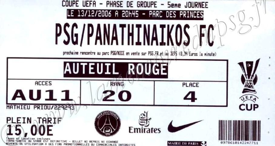 2006-12-13  PSG-Panathinaikos (5ème journée poule C3, bis)