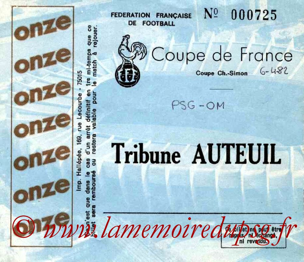Ticket  PSG-Marseille  1981-82