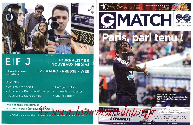 2018-12-02  Bordeaux-PSG (15ème L1, Girondins Match N°72) - Pages 02 et 03