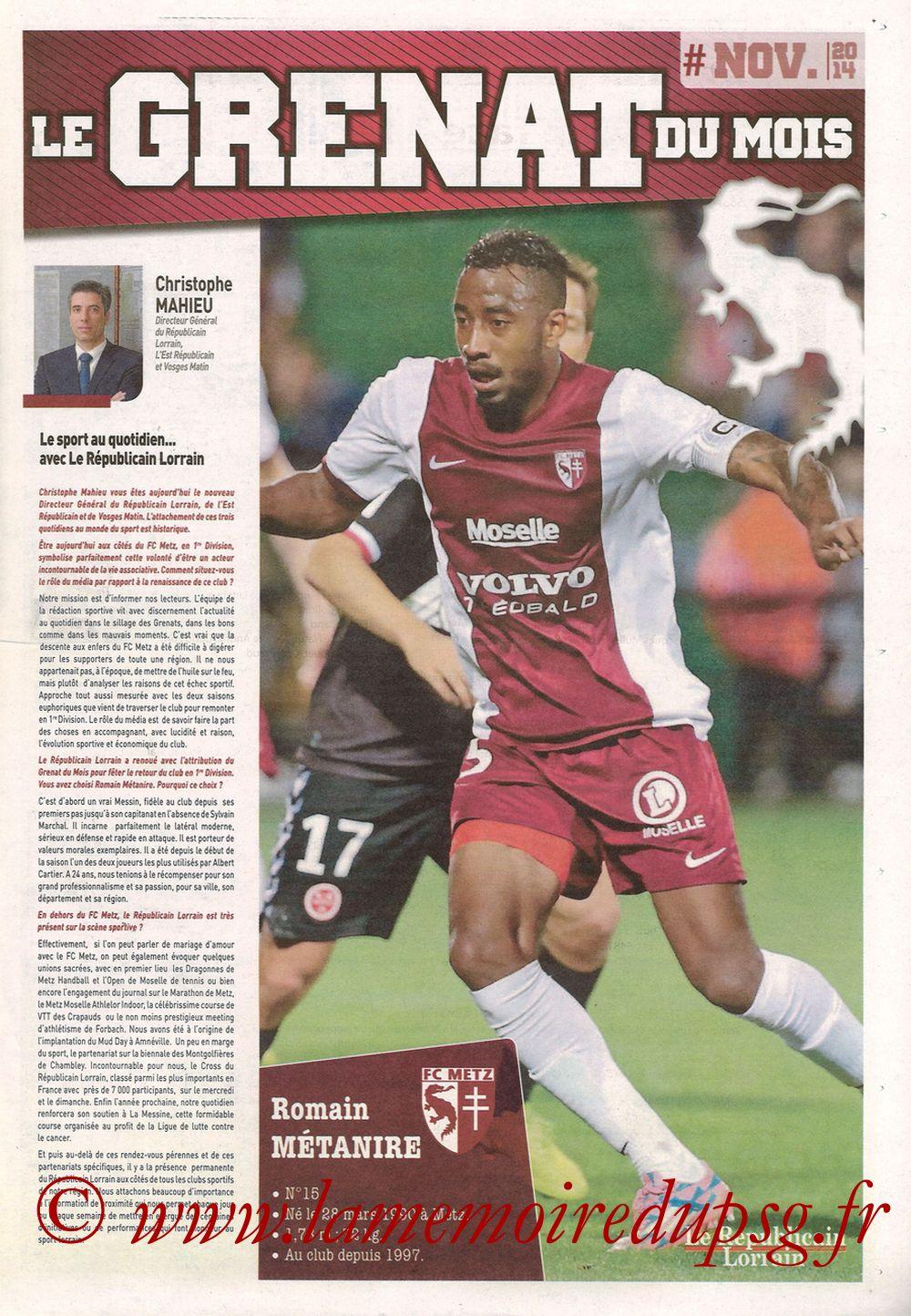 2014-11-21  Metz-PSG (16ème L1, Le Républicain Lorrain) - Page 07