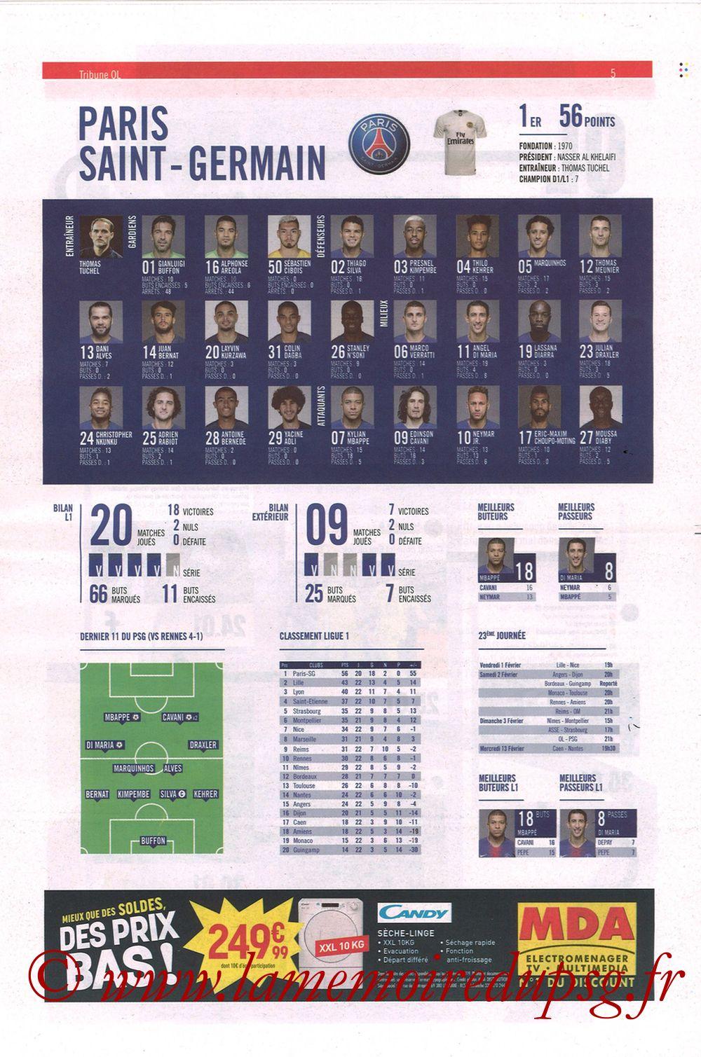 2019-02-03  Lyon-PSG (23ème L1, La Tribune OL N°270) - Page 05