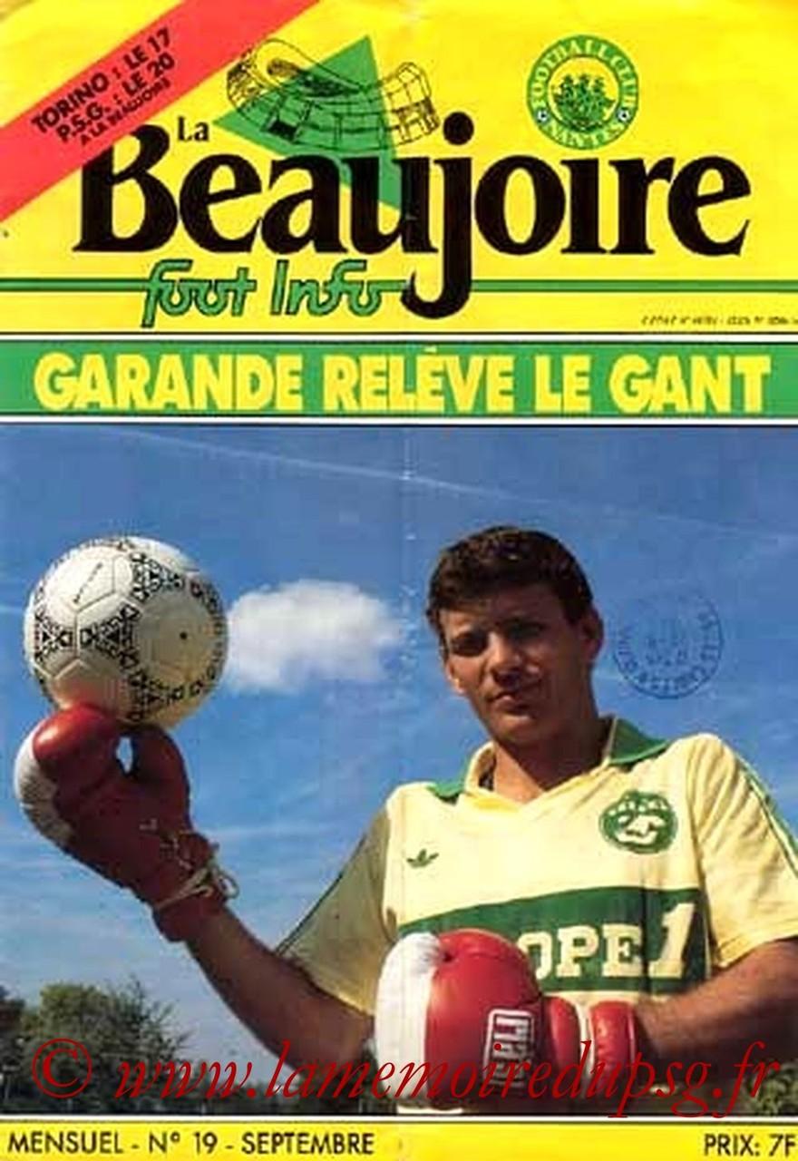 1986-09-20  Nantes-PSG (10ème D1, Programme officiel)