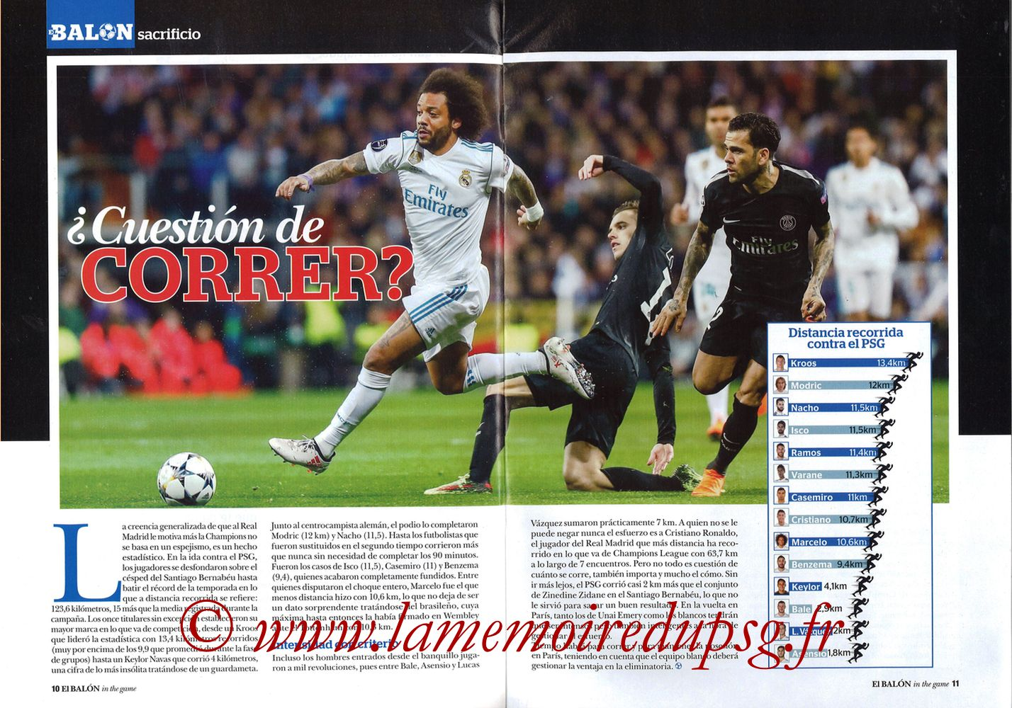 2018-03-06  PSG-Real Madrid (8ème Retourr C1, El Balon in the game N°49) - Pages 10 et 11
