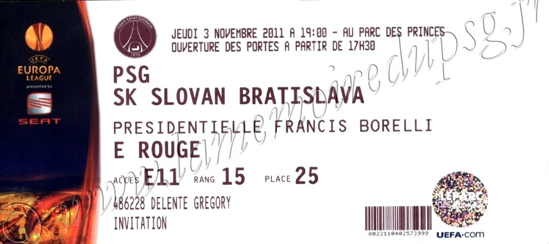 2011-11-03  PSG-Slovan Bratislava (4ème Journée Poule C3)