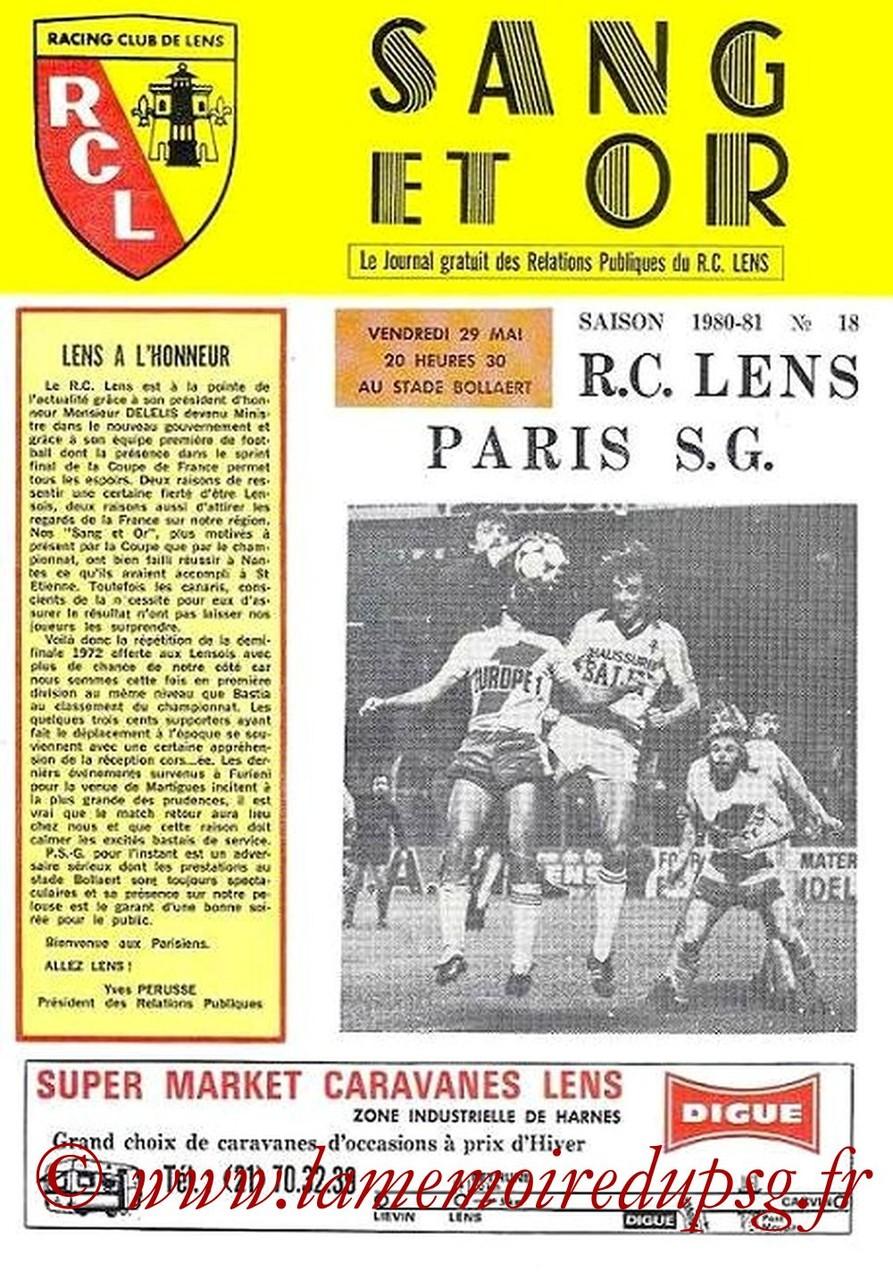 1981-05-29  Lens-PSG   (37ème D1, Sang et Or N°18)