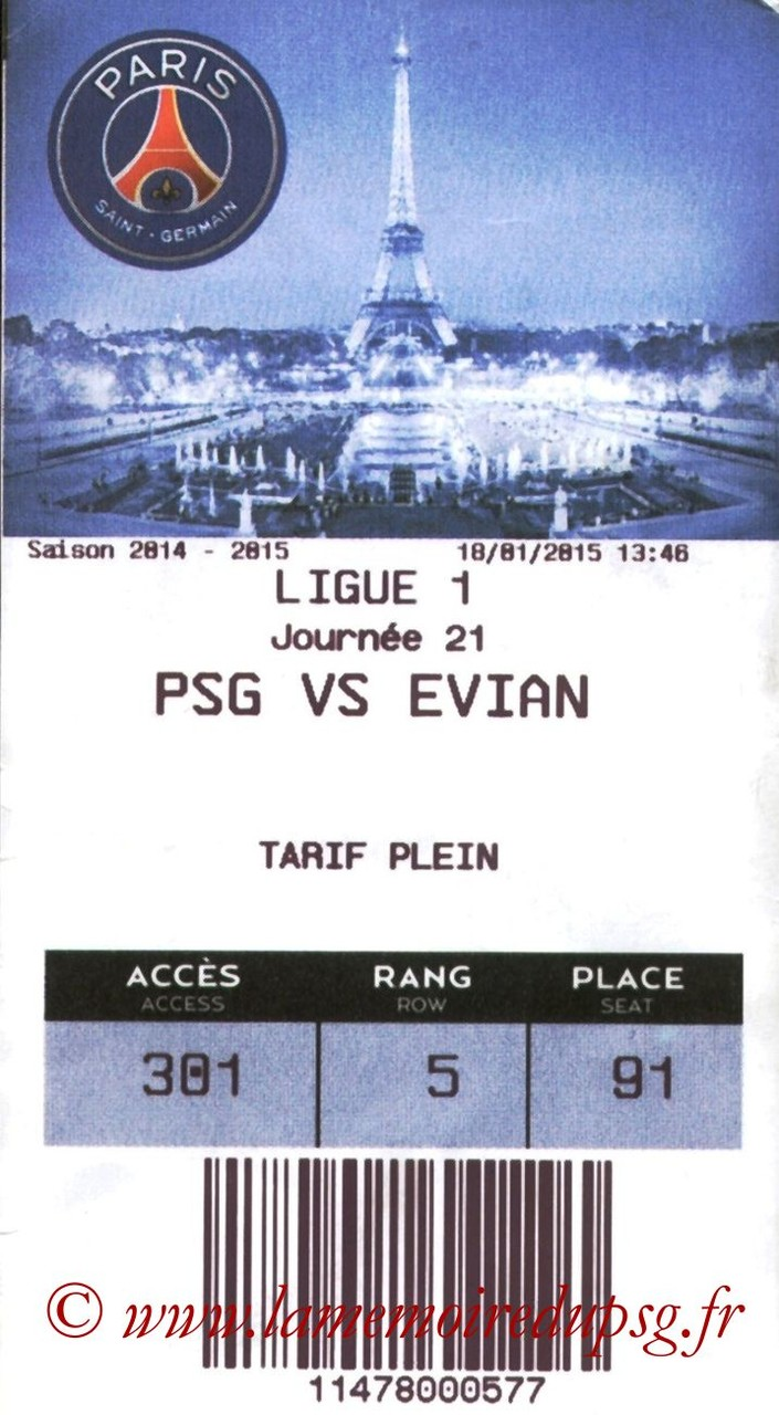 2015-01-18  PSG-Evian (21ème L1, E-ticket Executive Club)