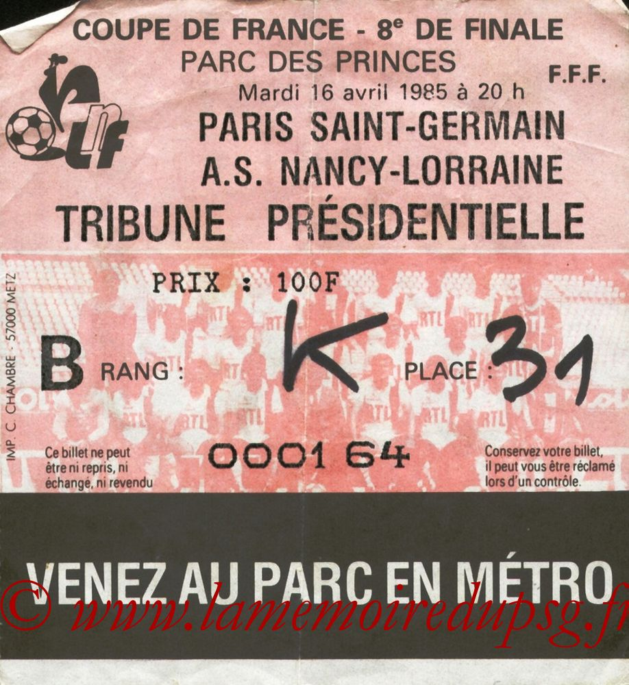 Ticket  PSG-Nancy  1984-85