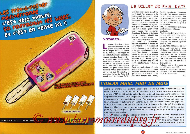 2003-08-30  Montpellier-PSG (5ème L1, MHSC Foot N°73) - Pages 14 et 15