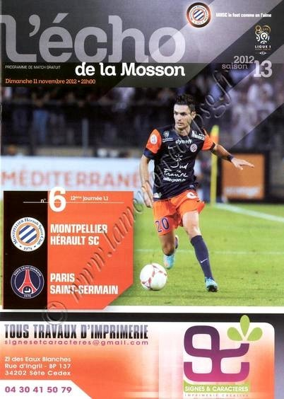 2012-11-11  Montpellier-PSG (12ème L1, L'écho de la Mosson N°6)