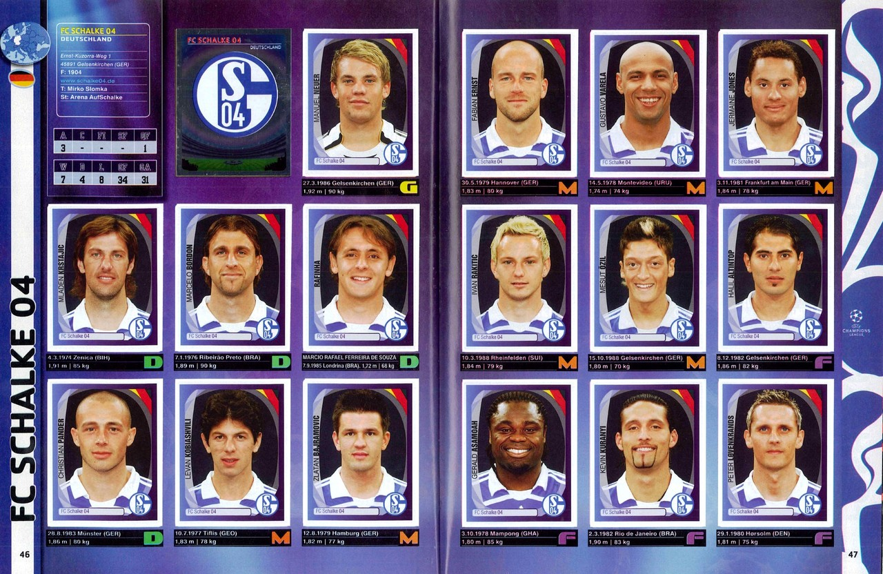 2007-08 - Panini Champions League - Pages 46 et 47 - FC Schalke 04