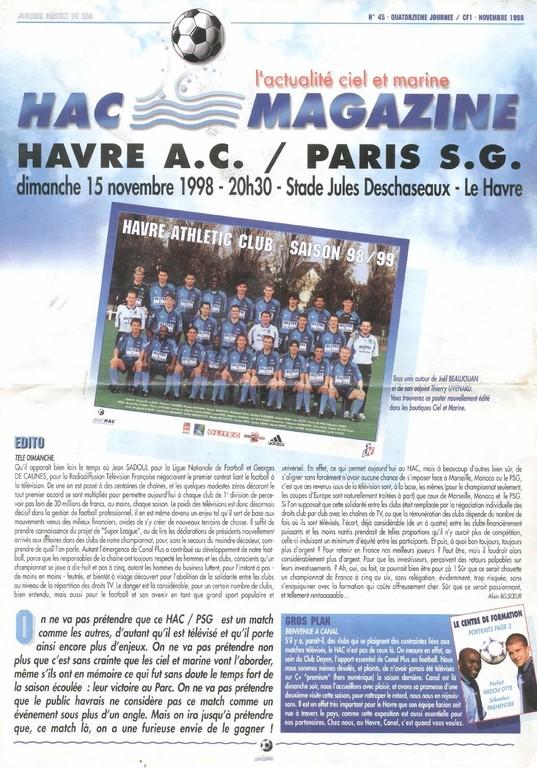 1998-11-15  Le Havre-PSG (14ème D1, HAC Magazine N°45)