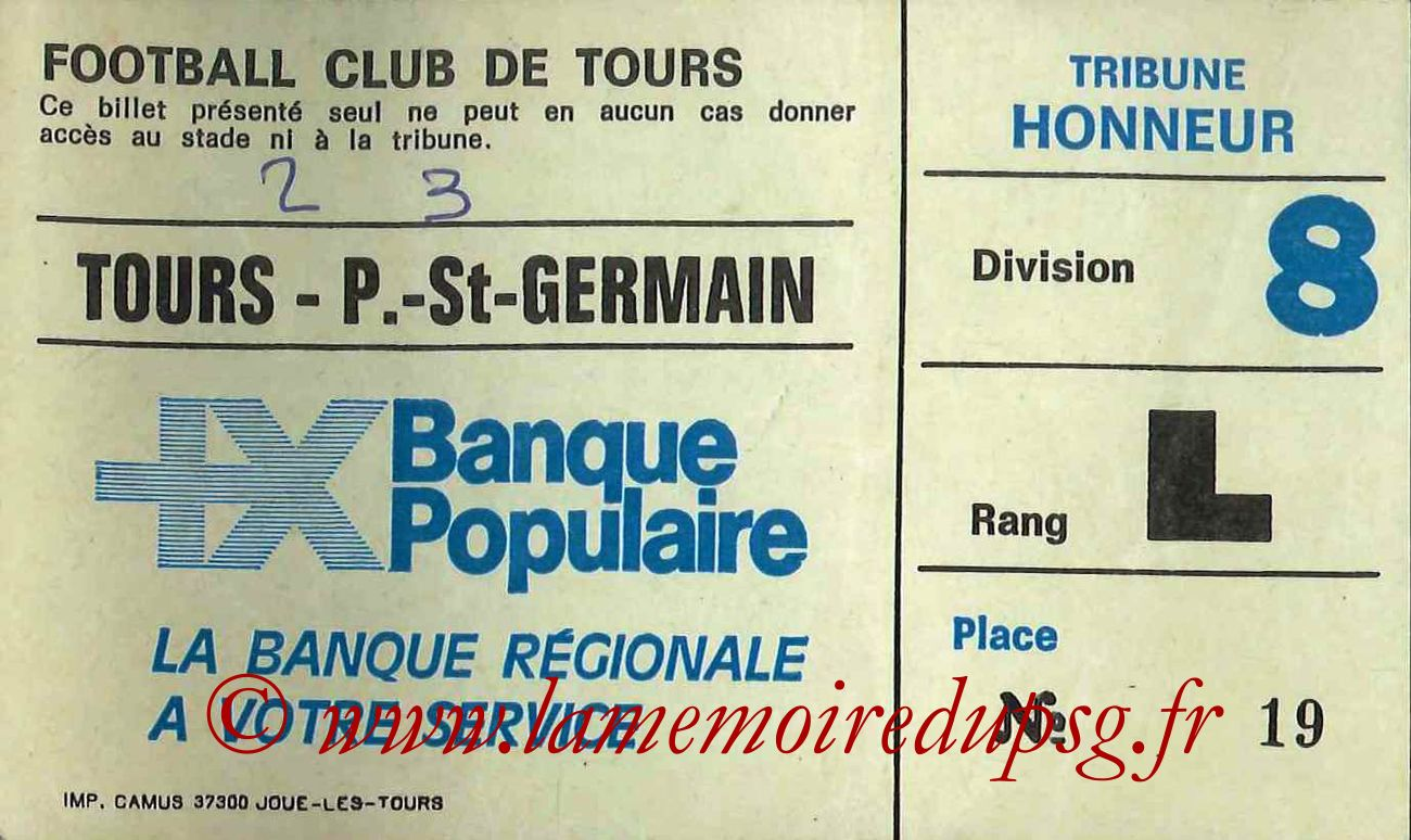 1984-09-25  Tours-PSG (9ème D1, Sans nom)