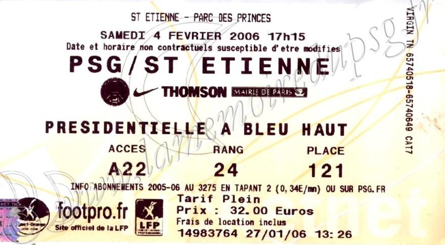 2006-02-04  PSG-Saint Etienne (25ème L1, Ticketnet)