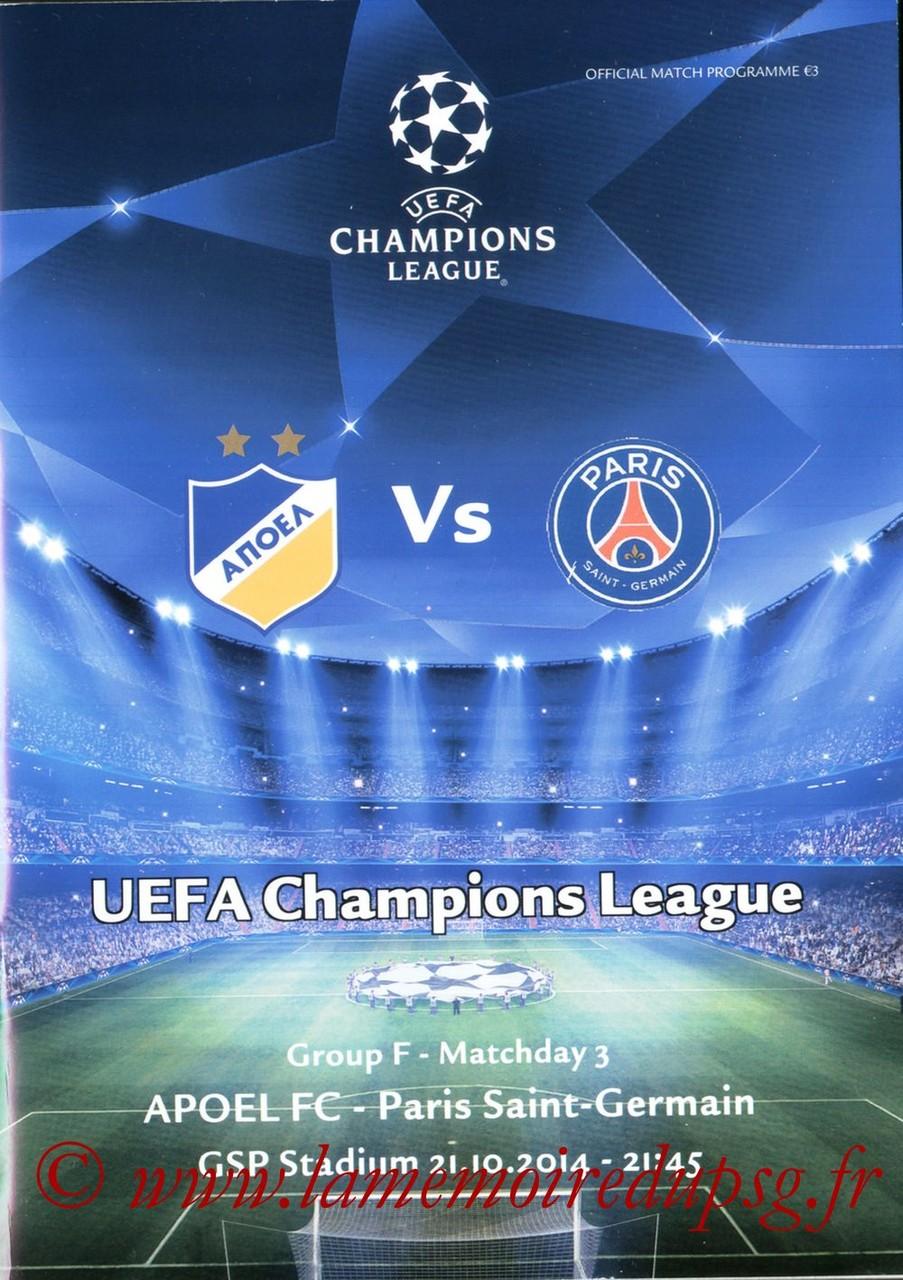 2014-10-21  Apoel Nicosie-PSG (3ème Poule C1, Programme officiel)