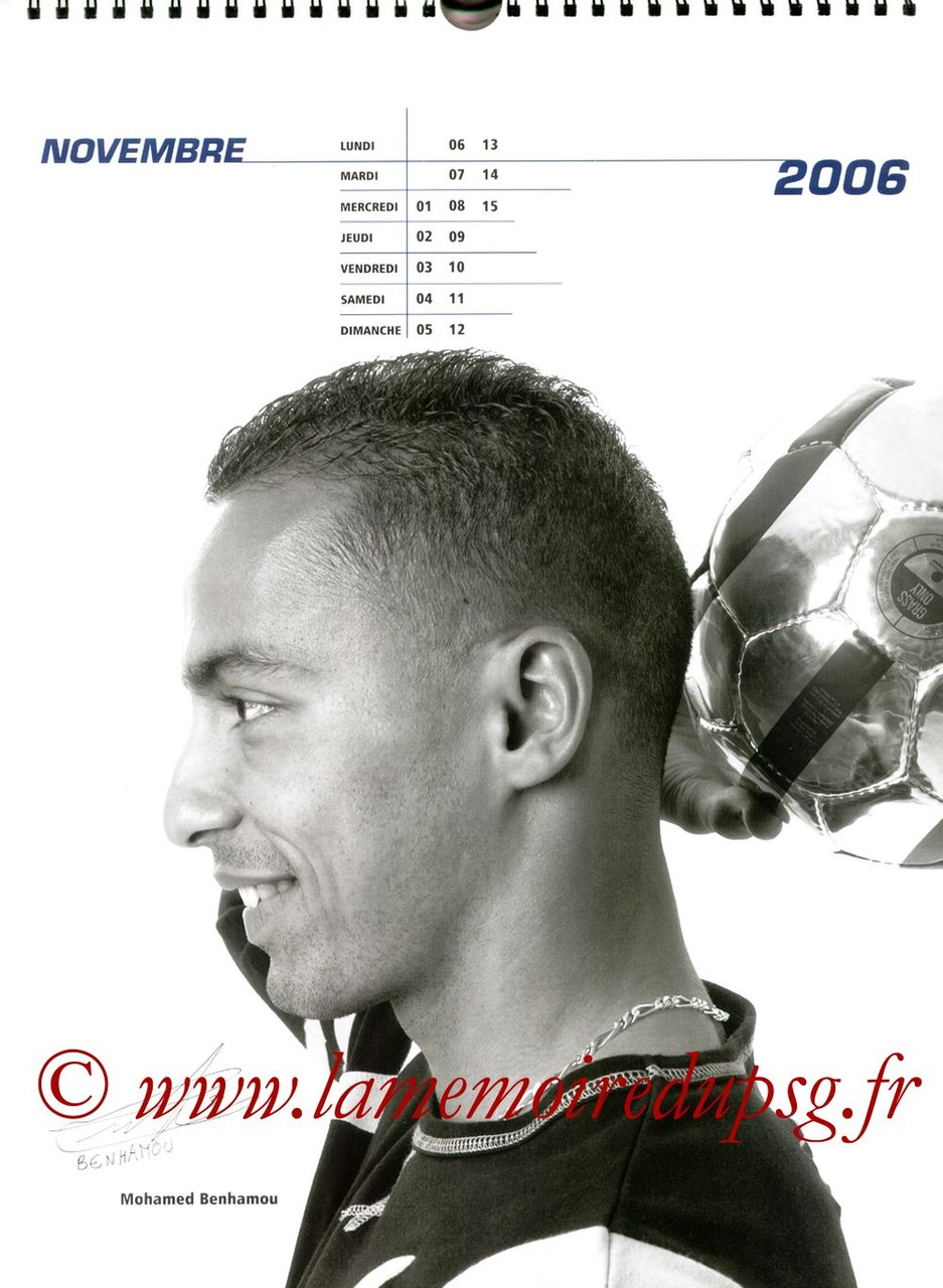Calendrier PSG 2006 - Page 21 - Mohamed BENHAMOU