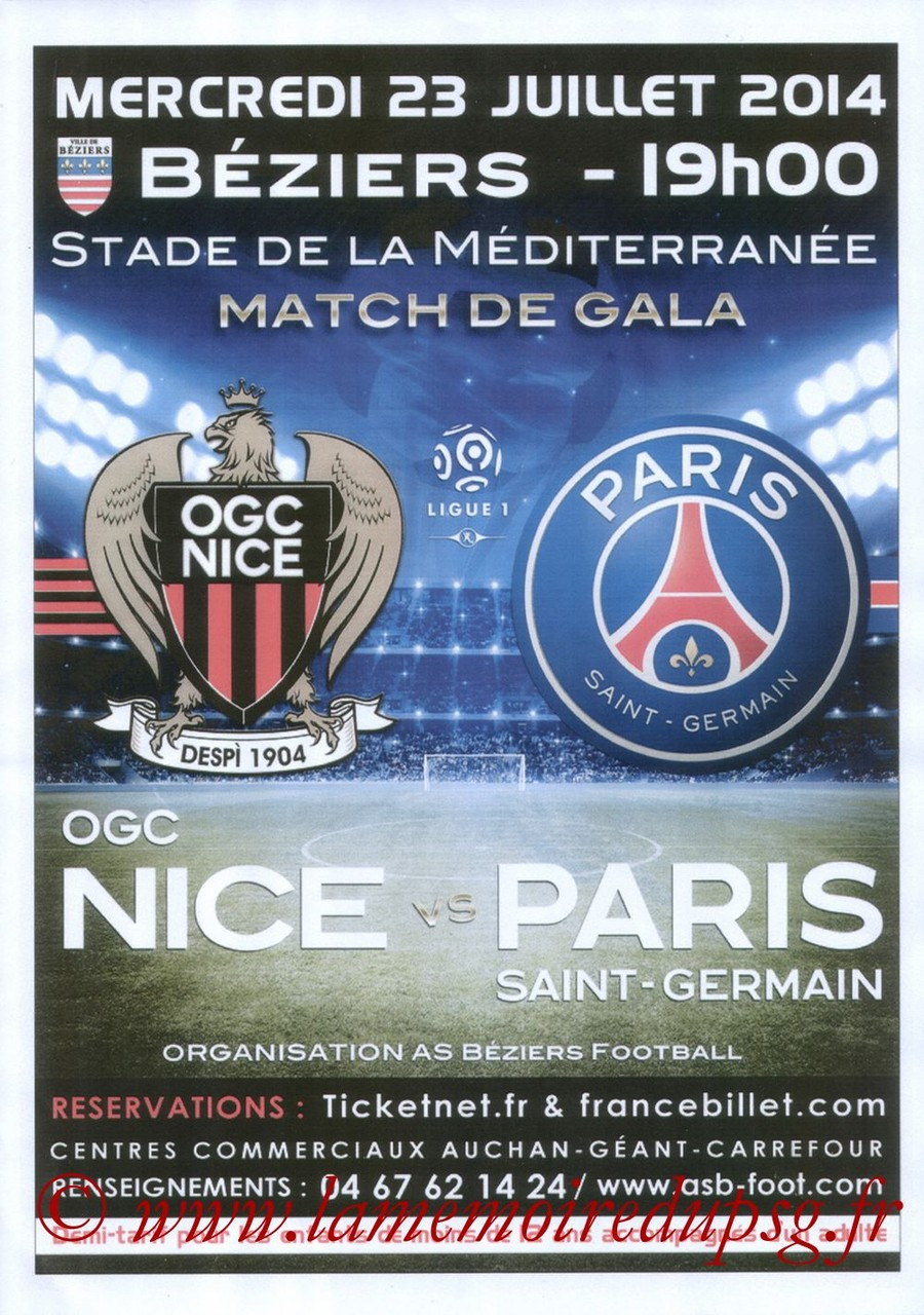 2014-07-23  Nice-PSG (Amical à Nice, Affiche)