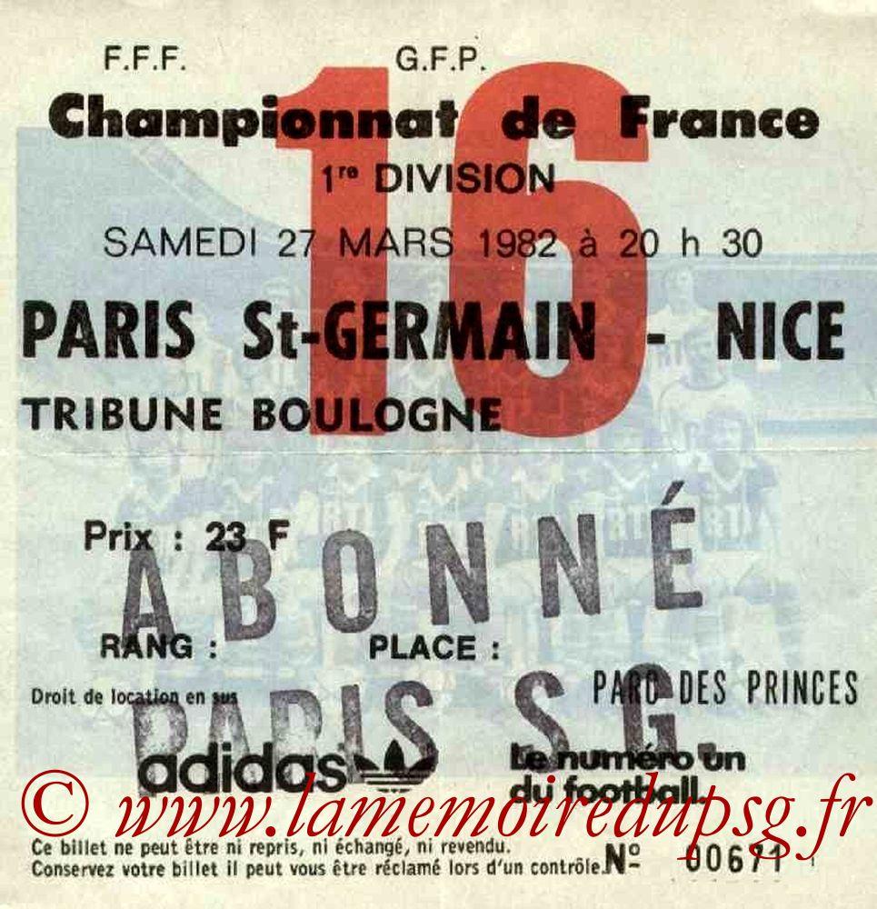 1982-03-27  PSG-Nice (32ème D1, Ticket N°16)