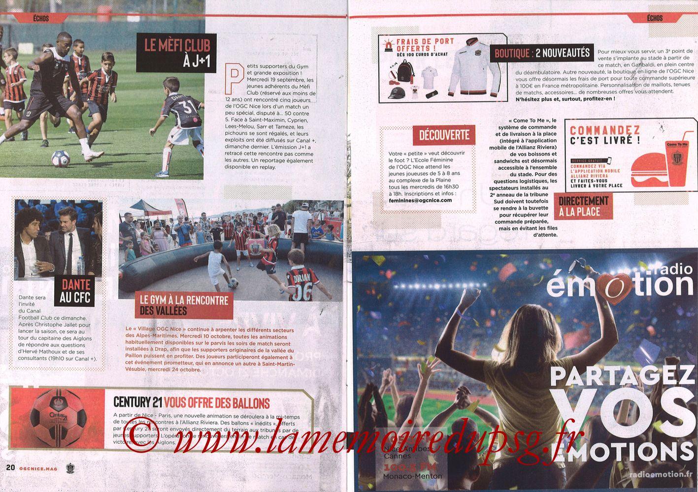 2018-09-29  Nice-PSG (8ème L1, Ogcnice.Mag N°313) - Pages 20 et 21