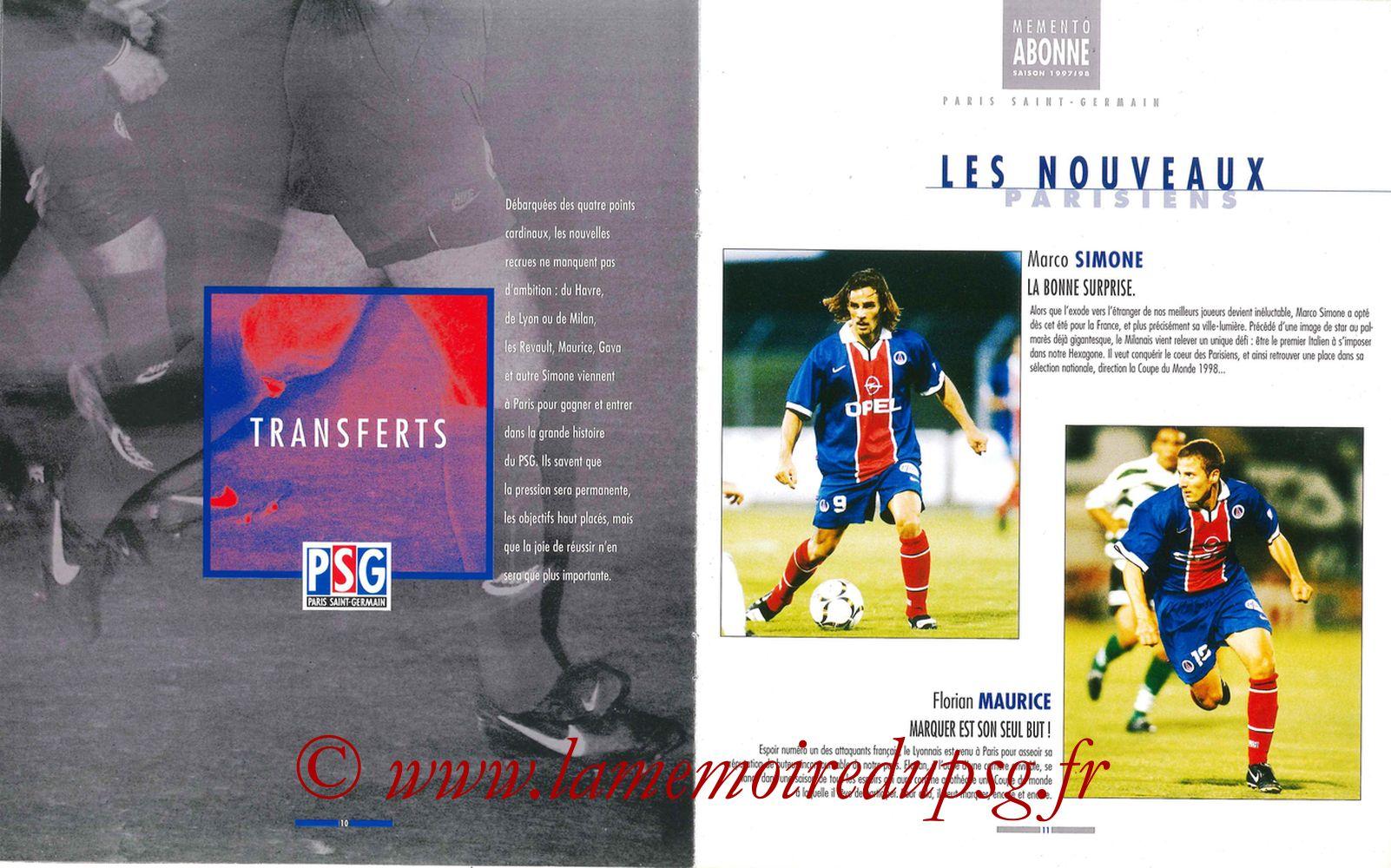 1997-98 - Guide de la Saison PSG - Pages 10 et 11