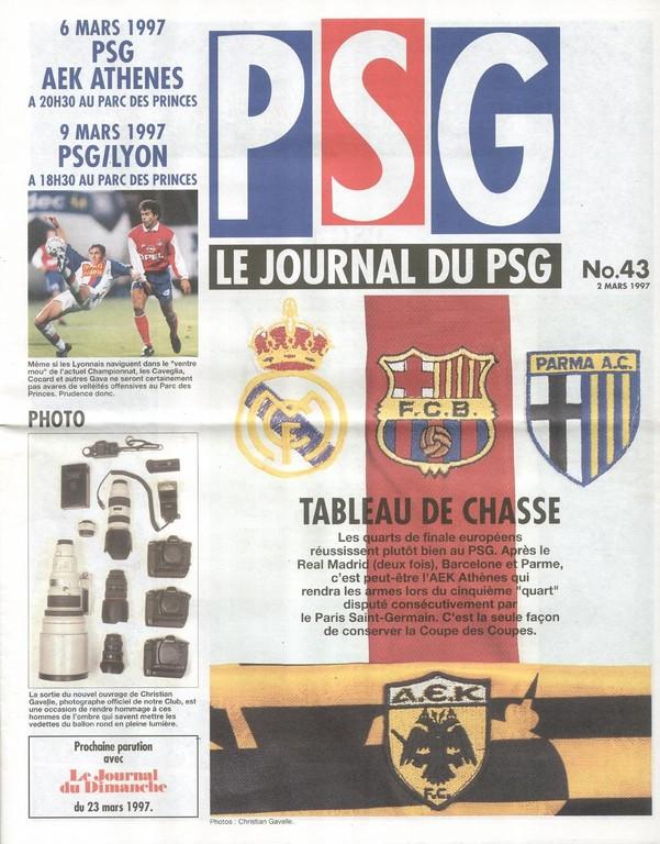 1997-03-06  PSG-AEK Athènes (Quart-Finale Aller C2, Le Journal du PSG N°43)