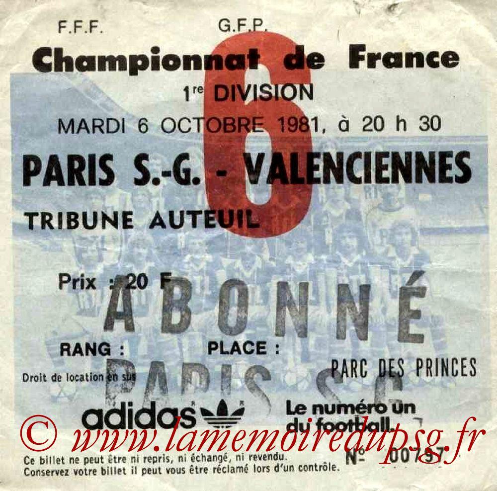 1981-10-06  PSG-Valenciennes (13ème D1, Ticket N°6)