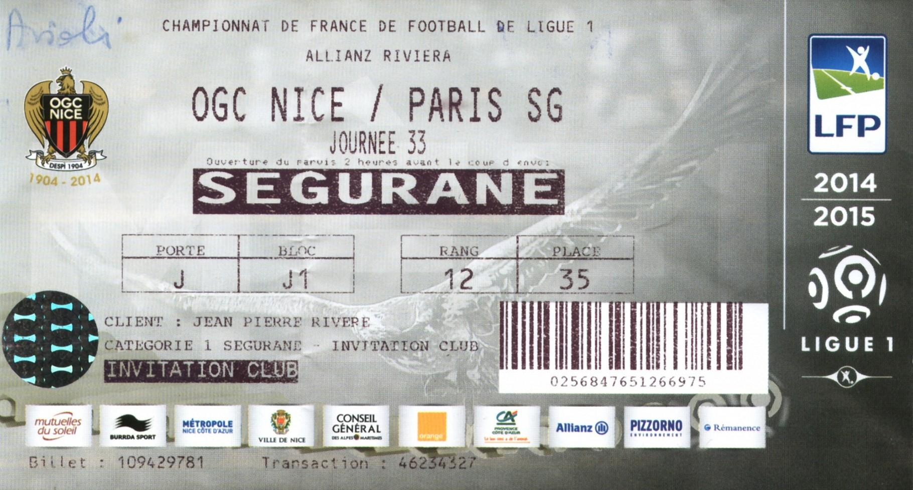 2015-04-18  Nice-PSG (33ème L1)